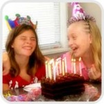 two girls laughing at birthday party